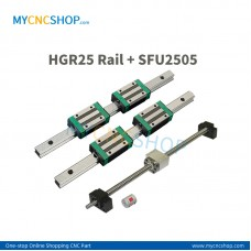 SFU2505 1000mm+HGR25 Rail 1000mm+HGH25A Carriages+BK20/BF20 End support+DSG25H Nut housing+14×17mm Coupling # interchange with HIWIN HGR25 and HGH25CA
