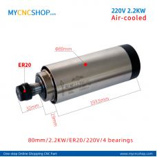 CNC spindle CHANGSHENG DIA.80mm 2.2KW ER20 4bearing For Engraving Milling