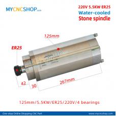 CNC spindle CHANGSHENG DIA.125mm 5.5KW er25 220v 4bearing  stone For Engraving Milling