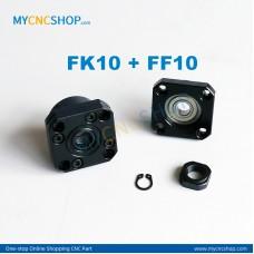 1Pcs FK10 + 1Pcs FF10 Ballscrew bearing mounts end support
