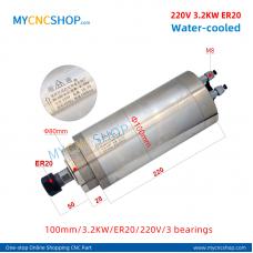 CNC router spindle SHUNTONG DIA.100mm 3.2KW ER20 220v 3bearing For Engraving Milling