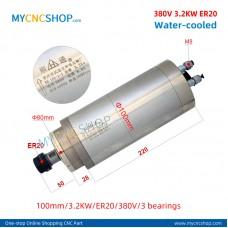 CNC router spindle SHUNTONG DIA.100mm 3.2KW ER20 380v 3bearing For Engraving Milling