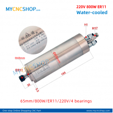 CNC router spindle SHUNTONG DIA.65mm 800W ER11 4bearing For Engraving Milling