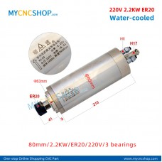 CNC router spindle SHUNTONG DIA.80mm 2.2KW ER20 220V 3 bearings For Engraving Milling